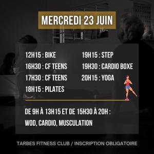 Liste des séances portes ouvertes salle de sport Tarbes Fitness Club