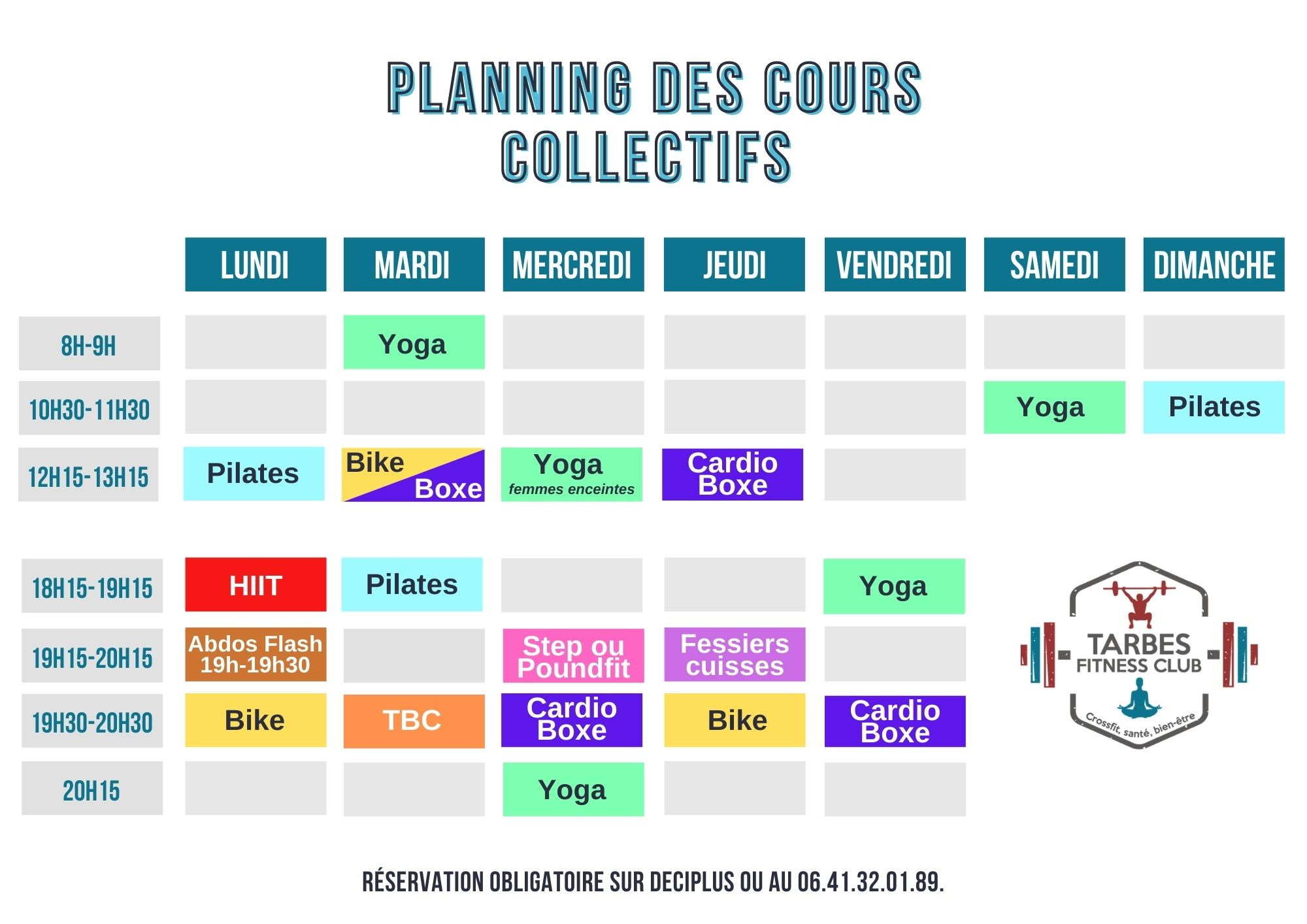 Planning cours collectifs Tarbes Fitness Club