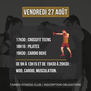 Programmation vendredi 27 août 2021 portes ouvertes salle de sport Tarbes Fitness Club cardio boxe hiit bike